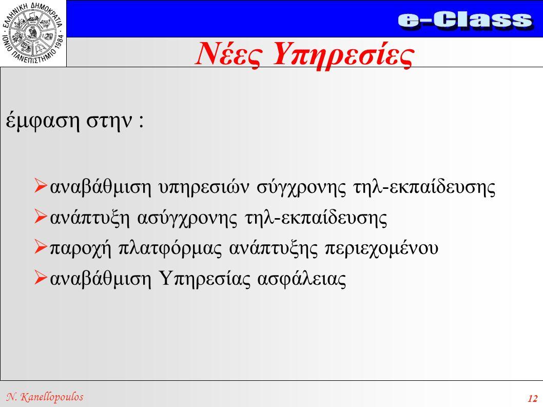 Νέες Υπηρεσίες N. Kanellopoulos 12 έμφαση στην :  αναβάθμιση υπηρεσιών σύγχρονης τηλ-εκπαίδευσης  ανάπτυξη ασύγχρονης τηλ-εκπαίδευσης  παροχή πλατφ