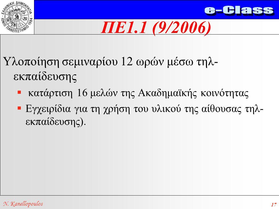 ΠΕ1.1 (9/2006) N. Kanellopoulos 17 Υλοποίηση σεμιναρίου 12 ωρών μέσω τηλ- εκπαίδευσης  κατάρτιση 16 μελών της Ακαδημαϊκής κοινότητας  Εγχειρίδια για