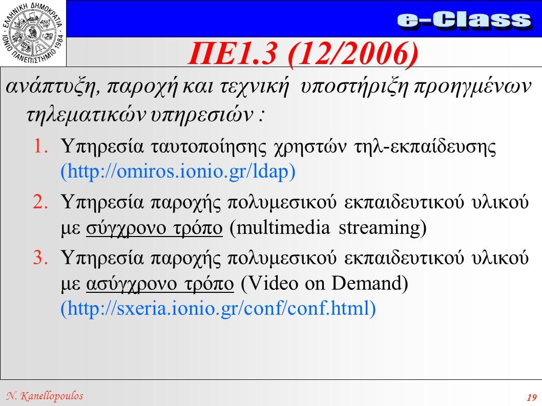 ΠΕ1.3 (12/2006) N. Kanellopoulos 19 ανάπτυξη, παροχή και τεχνική υποστήριξη προηγμένων τηλεματικών υπηρεσιών : 1.Υπηρεσία ταυτοποίησης χρηστών τηλ-εκπ