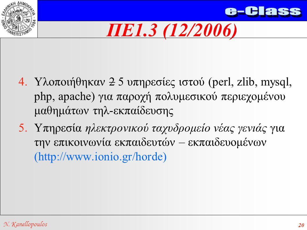 ΠΕ1.3 (12/2006) N. Kanellopoulos 20 4.Υλοποιήθηκαν 2 5 υπηρεσίες ιστού (perl, zlib, mysql, php, apache) για παροχή πολυμεσικού περιεχομένου μαθημάτων