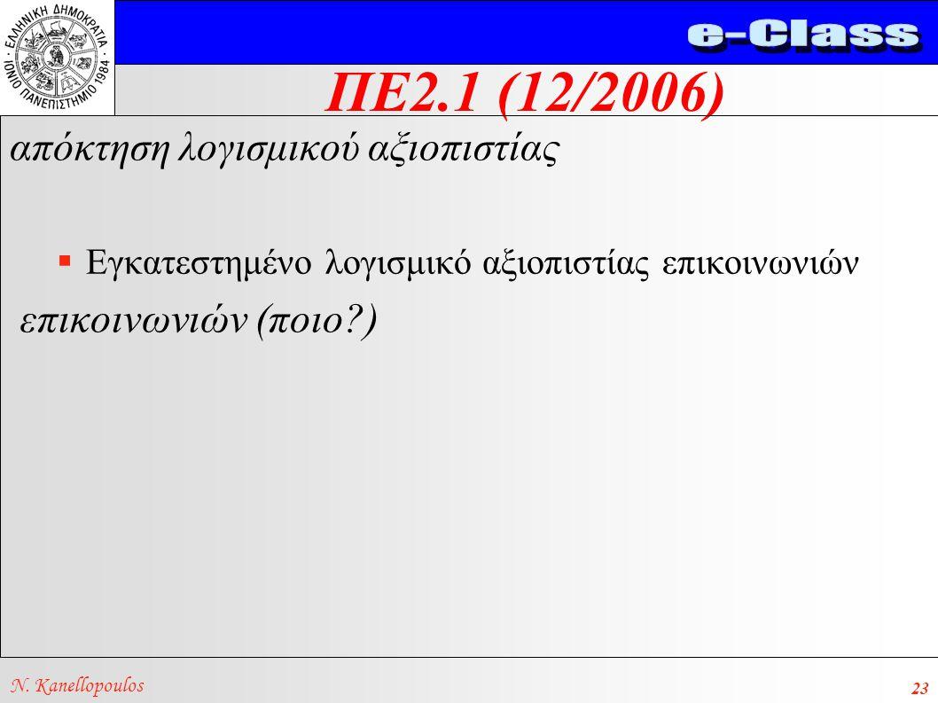 ΠΕ2.1 (12/2006) N. Kanellopoulos 23 απόκτηση λογισμικού αξιοπιστίας  Εγκατεστημένο λογισμικό αξιοπιστίας επικοινωνιών επικοινωνιών (ποιο?)