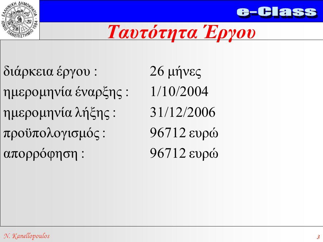 Ταυτότητα Έργου N. Kanellopoulos 3 διάρκεια έργου : 26 μήνες ημερομηνία έναρξης :1/10/2004 ημερομηνία λήξης : 31/12/2006 προϋπολογισμός : 96712 ευρώ α