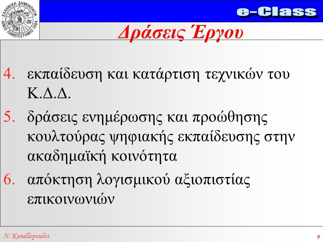 Δράσεις Έργου N. Kanellopoulos 9 4.εκπαίδευση και κατάρτιση τεχνικών του Κ.Δ.Δ. 5.δράσεις ενημέρωσης και προώθησης κουλτούρας ψηφιακής εκπαίδευσης στη