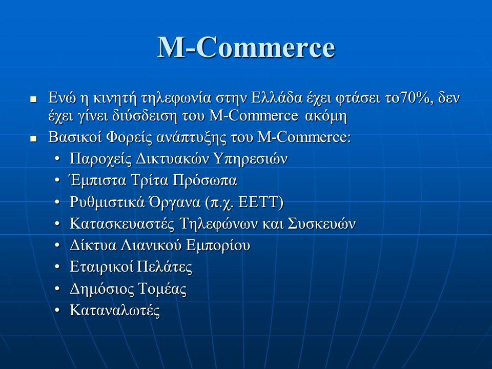 M-Commerce Ενώ η κινητή τηλεφωνία στην Ελλάδα έχει φτάσει το70%, δεν έχει γίνει διύσδειση του M-Commerce ακόμη Ενώ η κινητή τηλεφωνία στην Ελλάδα έχει