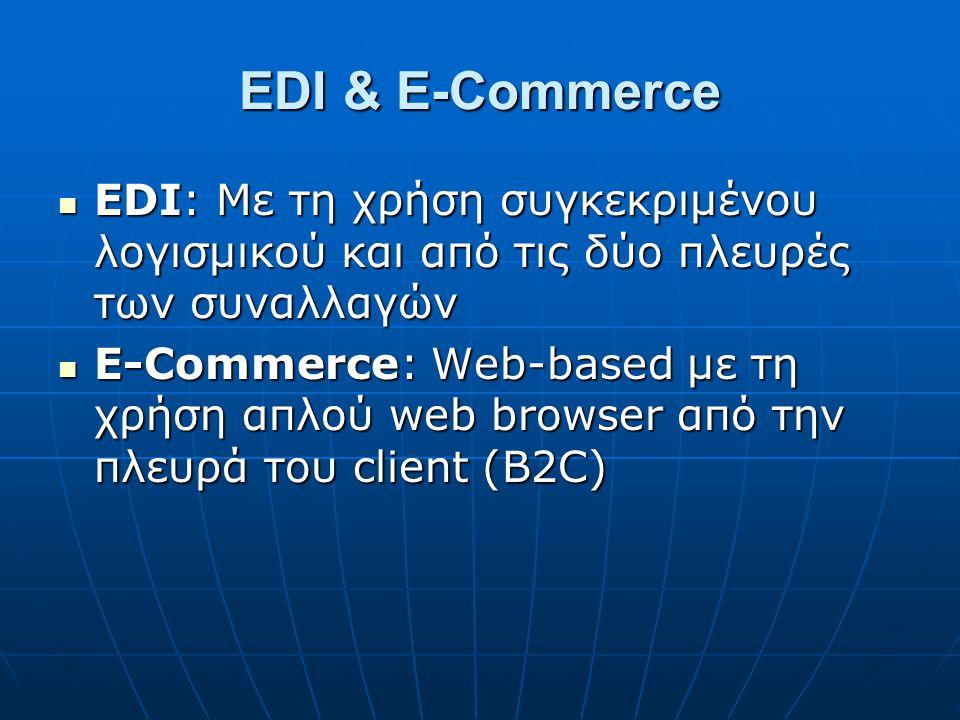EDI & E-Commerce EDI: Με τη χρήση συγκεκριμένου λογισμικού και από τις δύο πλευρές των συναλλαγών EDI: Με τη χρήση συγκεκριμένου λογισμικού και από τι