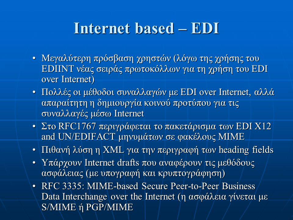 Internet based – EDI Μεγαλύτερη πρόσβαση χρηστών (λόγω της χρήσης του EDIINT νέας σειράς πρωτοκόλλων για τη χρήση του EDI over Internet)Μεγαλύτερη πρό