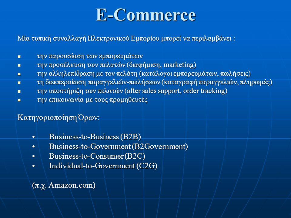 E-Commerce Μία τυπική συναλλαγή Ηλεκτρονικού Εμπορίου μπορεί να περιλαμβάνει : την παρουσίαση των εμπορευμάτων την παρουσίαση των εμπορευμάτων την προ