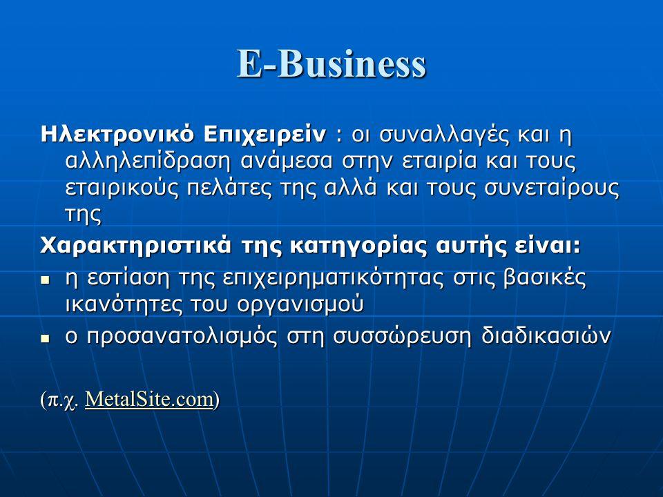 E-Business Ηλεκτρονικό Επιχειρείν : οι συναλλαγές και η αλληλεπίδραση ανάμεσα στην εταιρία και τους εταιρικούς πελάτες της αλλά και τους συνεταίρους τ