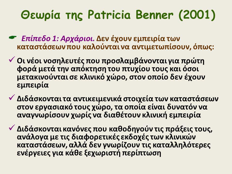 Θεωρία της Patricia Benner (2001)  Επίπεδο 1: Αρχάριοι. Δεν έχουν εμπειρία των καταστάσεων που καλούνται να αντιμετωπίσουν, όπως: Οι νέοι νοσηλευτές