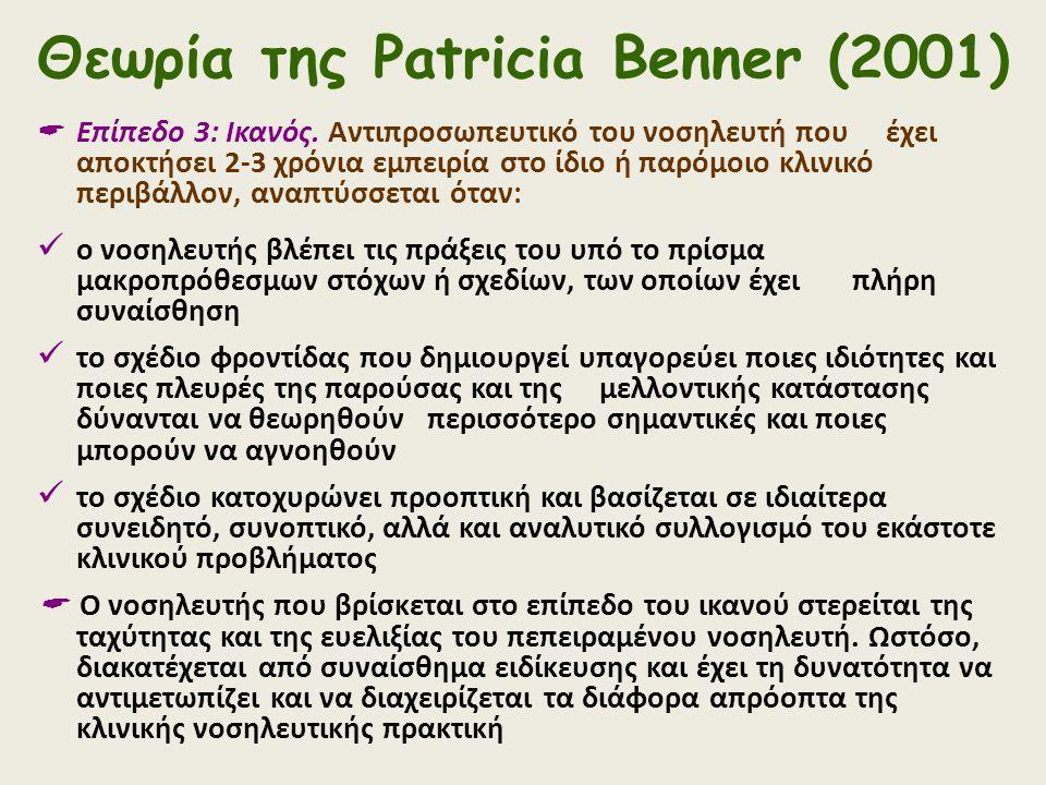Θεωρία της Patricia Benner (2001)  Επίπεδο 3: Ικανός. Αντιπροσωπευτικό του νοσηλευτή που έχει αποκτήσει 2-3 χρόνια εμπειρία στο ίδιο ή παρόμοιο κλινι