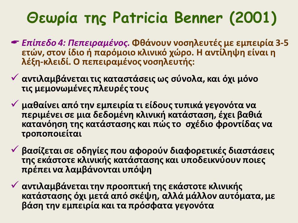Θεωρία της Patricia Benner (2001)  Επίπεδο 4: Πεπειραμένος. Φθάνουν νοσηλευτές με εμπειρία 3-5 ετών, στον ίδιο ή παρόμοιο κλινικό χώρο. Η αντίληψη εί