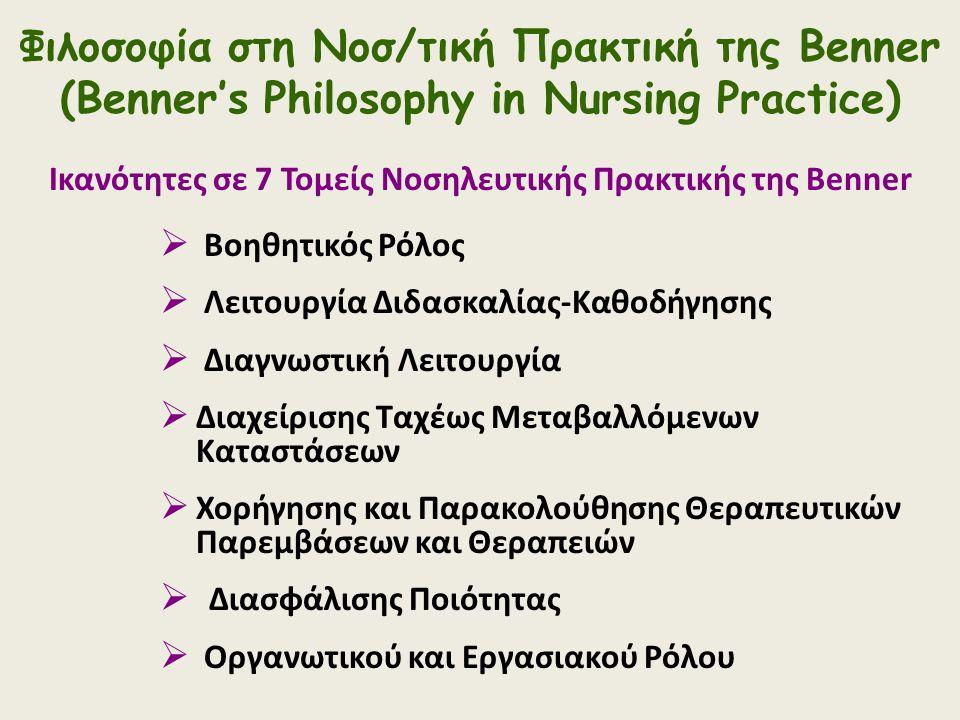 Φιλοσοφία στη Νοσ/τική Πρακτική της Benner (Benner's Philosophy in Nursing Practice) Ικανότητες σε 7 Τομείς Νοσηλευτικής Πρακτικής της Benner  Βοηθητ