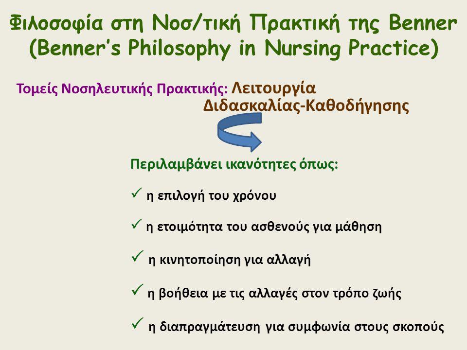 Φιλοσοφία στη Νοσ/τική Πρακτική της Benner (Benner's Philosophy in Nursing Practice) Τομείς Νοσηλευτικής Πρακτικής: Λειτουργία Διδασκαλίας-Καθοδήγησης