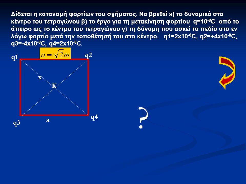 Δίδεται η κατανομή φορτίων του σχήματος. Να βρεθεί a) το δυναμικό στο κέντρο του τετραγώνου β) το έργο για τη μετακίνηση φορτίου q=10 -8 C από το άπει