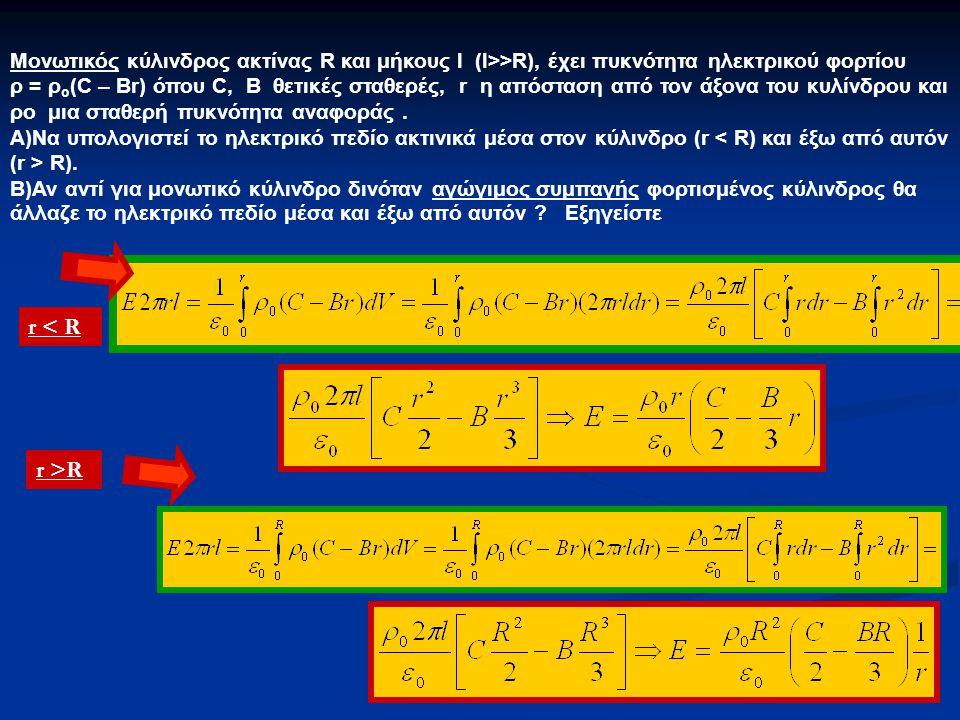 Μονωτικός κύλινδρος ακτίνας R και μήκους l (l>>R), έχει πυκνότητα ηλεκτρικού φορτίου ρ = ρ ο (C – Br) όπου C, B θετικές σταθερές, r η απόσταση από τον