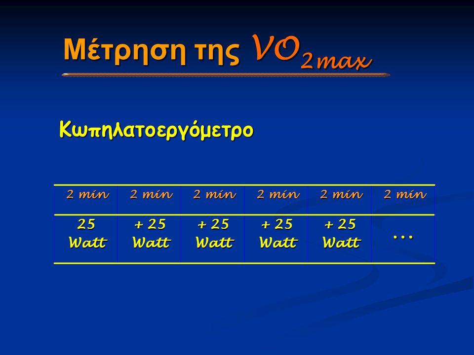 Μέτρηση της VO 2max 2 min 25Watt + 25 Watt Watt Watt Watt… Κωπηλατοεργόμετρο