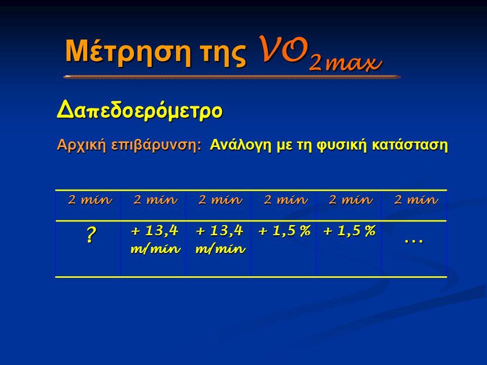 Μέτρηση της VO 2max Δαπεδοερόμετρο Αρχική επιβάρυνση: Ανάλογη με τη φυσική κατάσταση 2 min ? + 13,4 m/min m/min + 1,5 % …