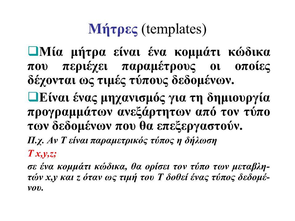 Μήτρες (templates)  Μία μήτρα είναι ένα κομμάτι κώδικα που περιέχει παραμέτρους οι οποίες δέχονται ως τιμές τύπους δεδομένων.  Είναι ένας μηχανισμός