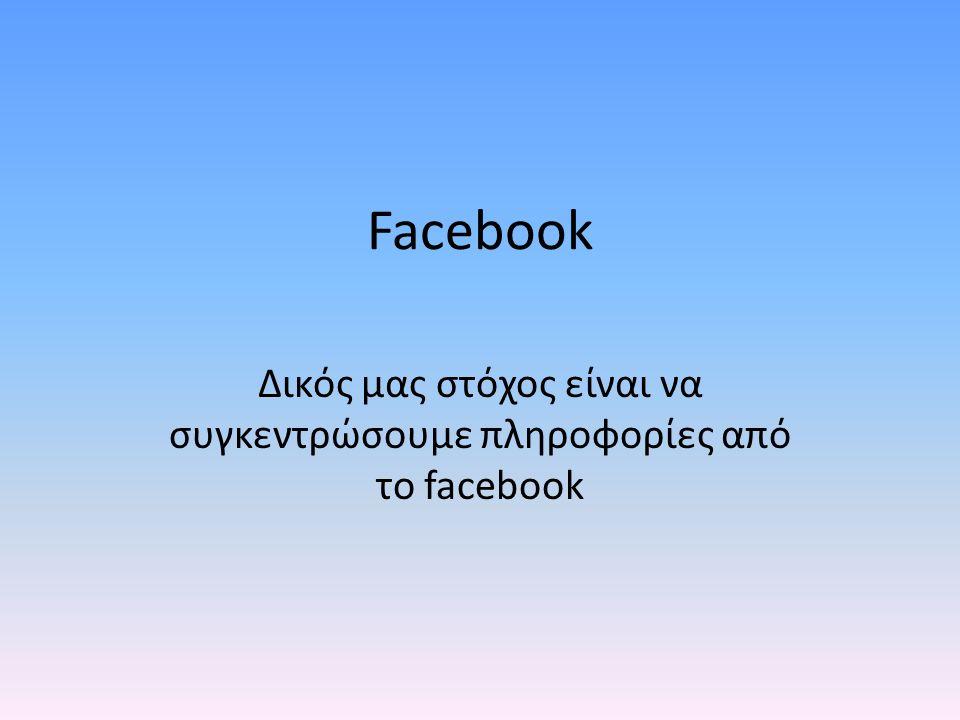 Facebook Δικός μας στόχος είναι να συγκεντρώσουμε πληροφορίες από το facebook