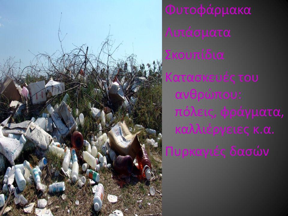 Φυτοφάρμακα Λιπάσματα Σκουπίδια Κατασκευές του ανθρώπου: πόλεις, φράγματα, καλλιέργειες κ.α. Πυρκαγιές δασών