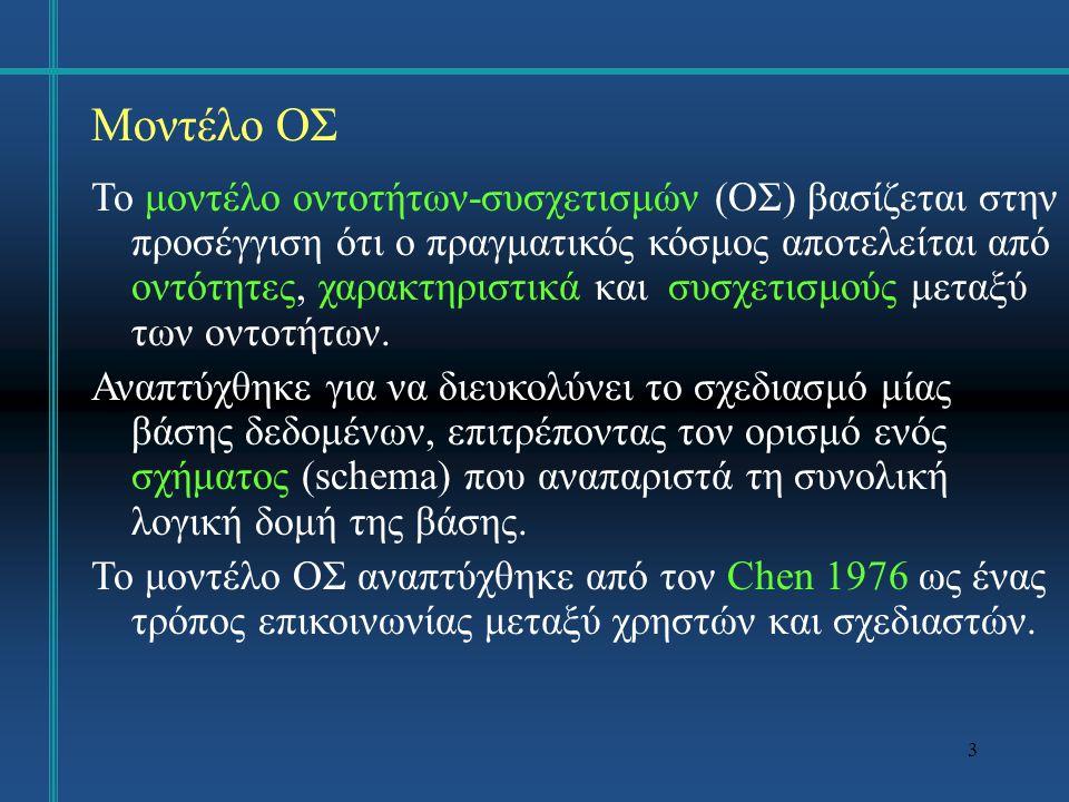 34 Περιορισμοί Ακεραιότητας Άλλοι περιορισμοί: Οποιαδήποτε συνθήκη θέλουμε να ικανοποιείται από τα αποθηκευμένα δεδομένα.