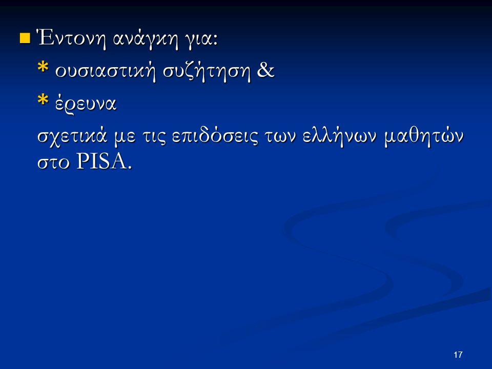 17 Έντονη ανάγκη για: Έντονη ανάγκη για: * ουσιαστική συζήτηση & * έρευνα σχετικά με τις επιδόσεις των ελλήνων μαθητών στο PISΑ.