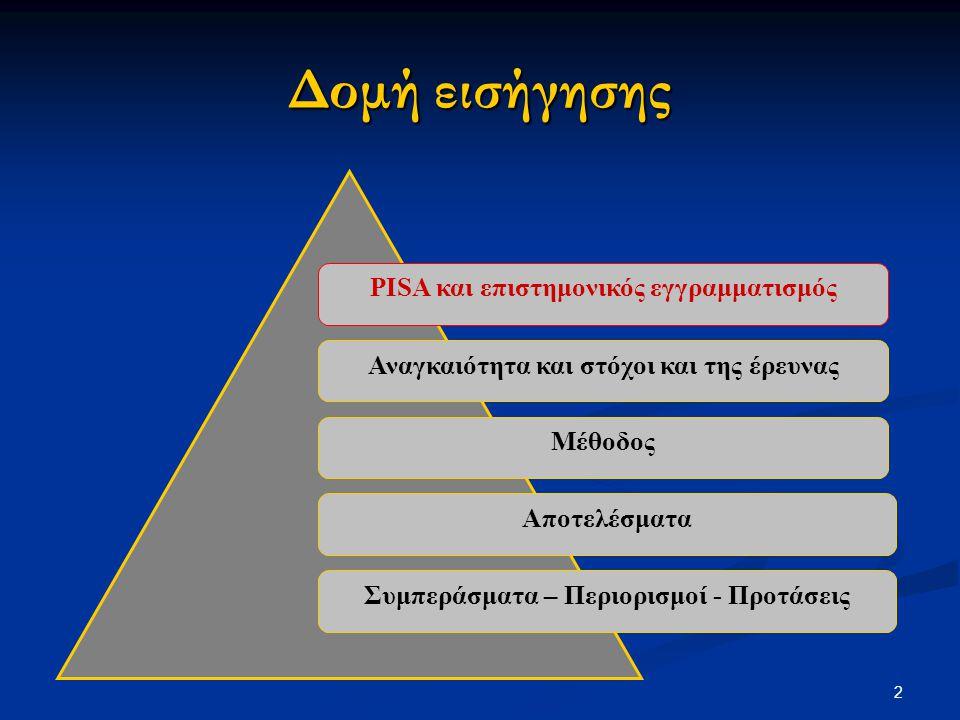 13 Κύκλος PISA Επίδοση Ελλήνων μαθητών Κατάταξη της Ελλάδας Αριθμός χωρών που συμμετείχαν 200046125 η 30 200348130 η 40 200647338 η 57 Οι επιδόσεις των Ελλήνων μαθητών στον επιστημονικό εγγραμματισμό
