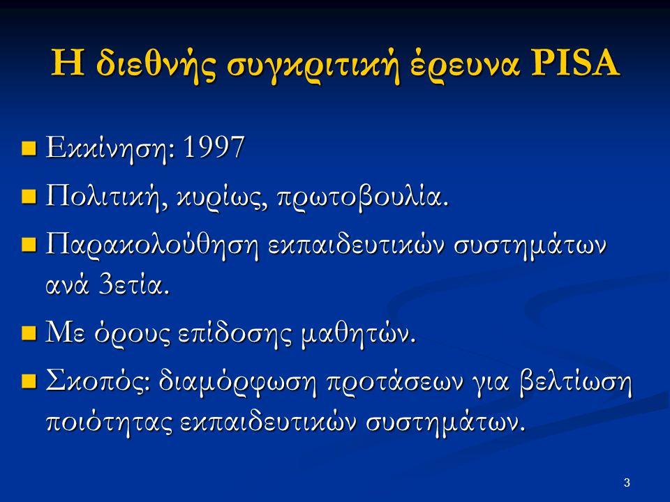 3 Η διεθνής συγκριτική έρευνα PISA Εκκίνηση: 1997 Εκκίνηση: 1997 Πολιτική, κυρίως, πρωτοβουλία. Πολιτική, κυρίως, πρωτοβουλία. Παρακολούθηση εκπαιδευτ