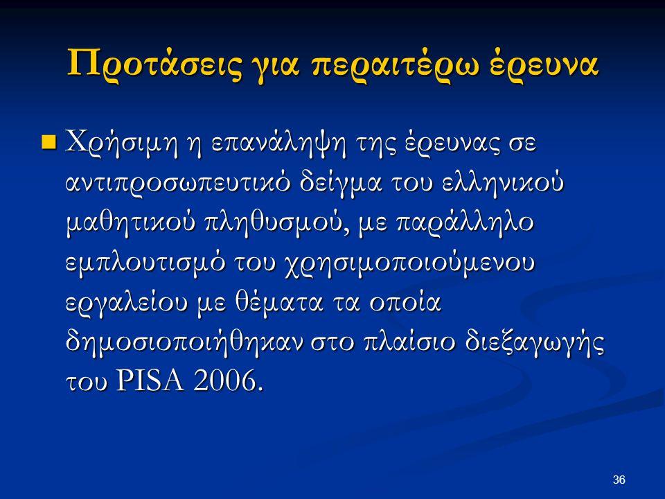 36 Προτάσεις για περαιτέρω έρευνα Χρήσιμη η επανάληψη της έρευνας σε αντιπροσωπευτικό δείγμα του ελληνικού μαθητικού πληθυσμού, με παράλληλο εμπλουτισ