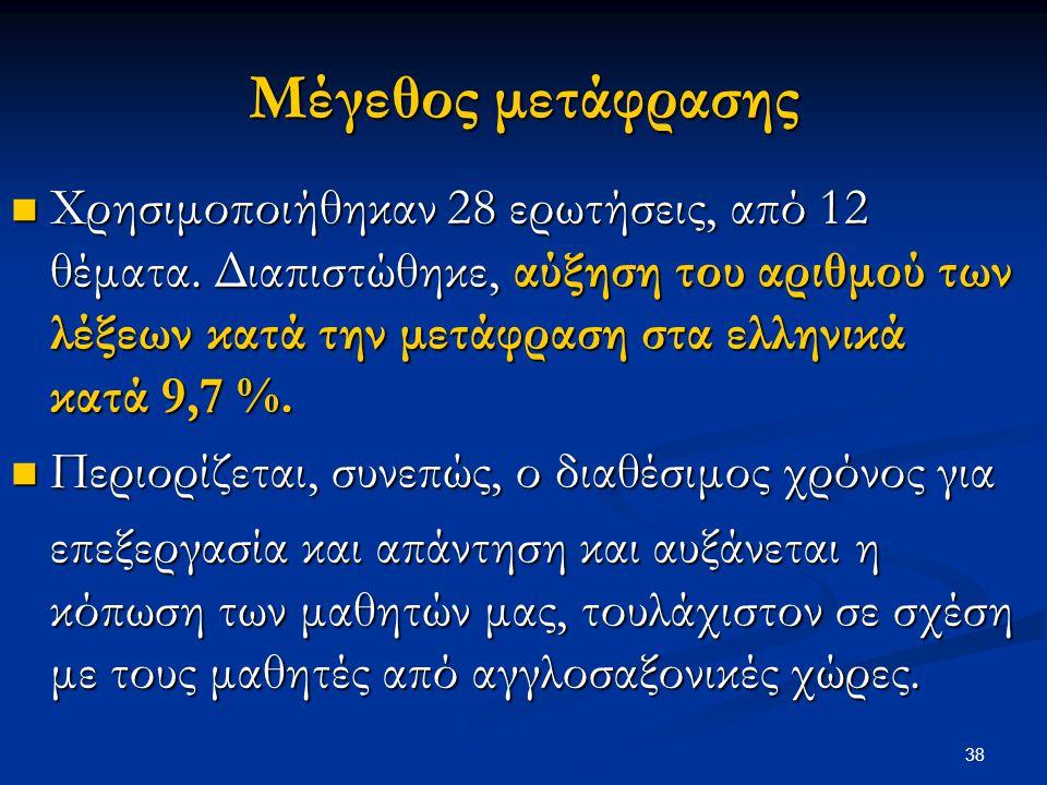 38 Μέγεθος μετάφρασης Χρησιμοποιήθηκαν 28 ερωτήσεις, από 12 θέματα. Διαπιστώθηκε, αύξηση του αριθμού των λέξεων κατά την μετάφραση στα ελληνικά κατά 9