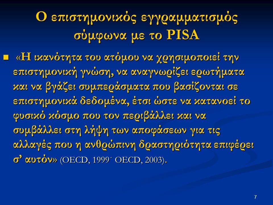 7 Ο επιστημονικός εγγραμματισμός σύμφωνα με το PISA «Η ικανότητα του ατόμου να χρησιμοποιεί την επιστημονική γνώση, να αναγνωρίζει ερωτήματα και να βγ