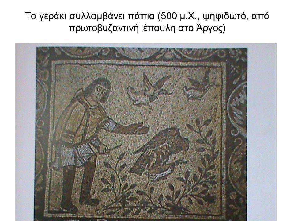 Το γεράκι συλλαμβάνει πάπια (500 μ.Χ., ψηφιδωτό, από πρωτοβυζαντινή έπαυλη στο Άργος)