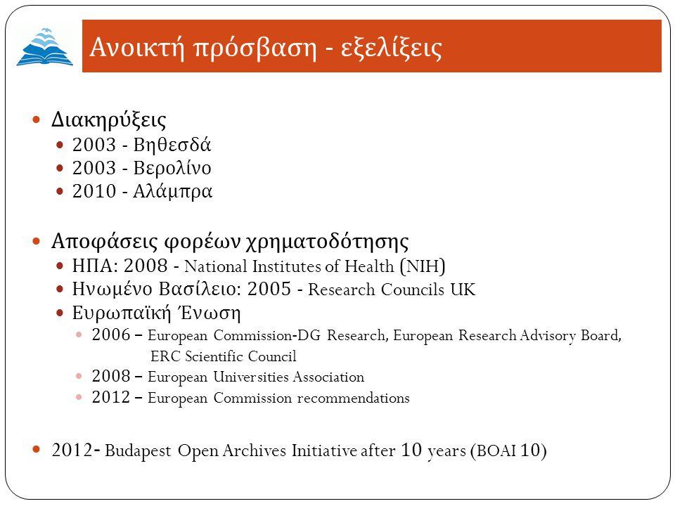 Διακηρύξεις 2003 - Βηθεσδά 2003 - Βερολίνο 2010 - Αλάμπρα Αποφάσεις φορέων χρηματοδότησης ΗΠΑ : 2008 - National Institutes of Health (NIH) Ηνωμένο Βασίλειο : 2005 - Research Councils UK Ευρωπαϊκή Ένωση 2006 – European Commission-DG Research, European Research Advisory Board, ERC Scientific Council 2008 – European Universities Association 2012 – European Commission recommendations 2012- Budapest Open Archives Initiative after 10 years ( BOAI 10 ) Ανοικτή πρόσβαση - εξελίξεις