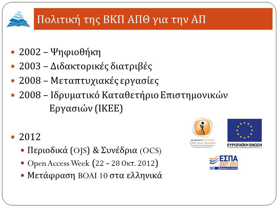 2002 – Ψηφιοθήκη 2003 – Διδακτορικές διατριβές 2008 – Μεταπτυχιακές εργασίες 2008 – Ιδρυματικό Καταθετήριο Επιστημονικών Εργασιών ( ΙΚΕΕ ) 2012 Περιοδικά (OJS) & Συνέδρια (OCS) Open Access Week ( 22 – 28 Οκτ.