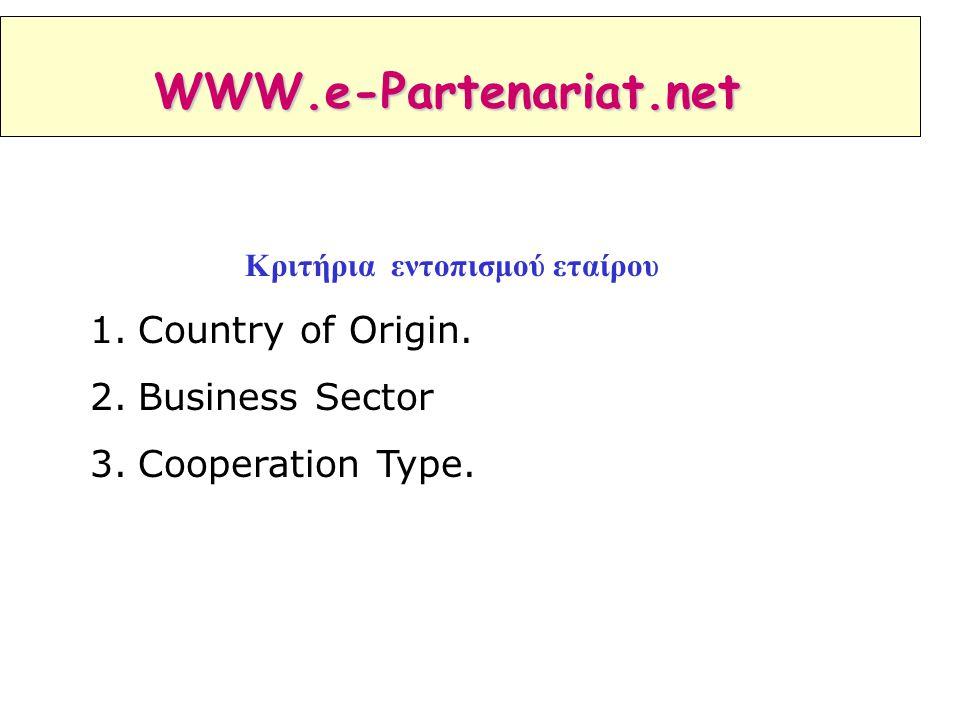 Κριτήρια εντοπισμού εταίρου 1.Country of Origin. 2.Business Sector 3.Cooperation Type. WWW.e-Partenariat.net
