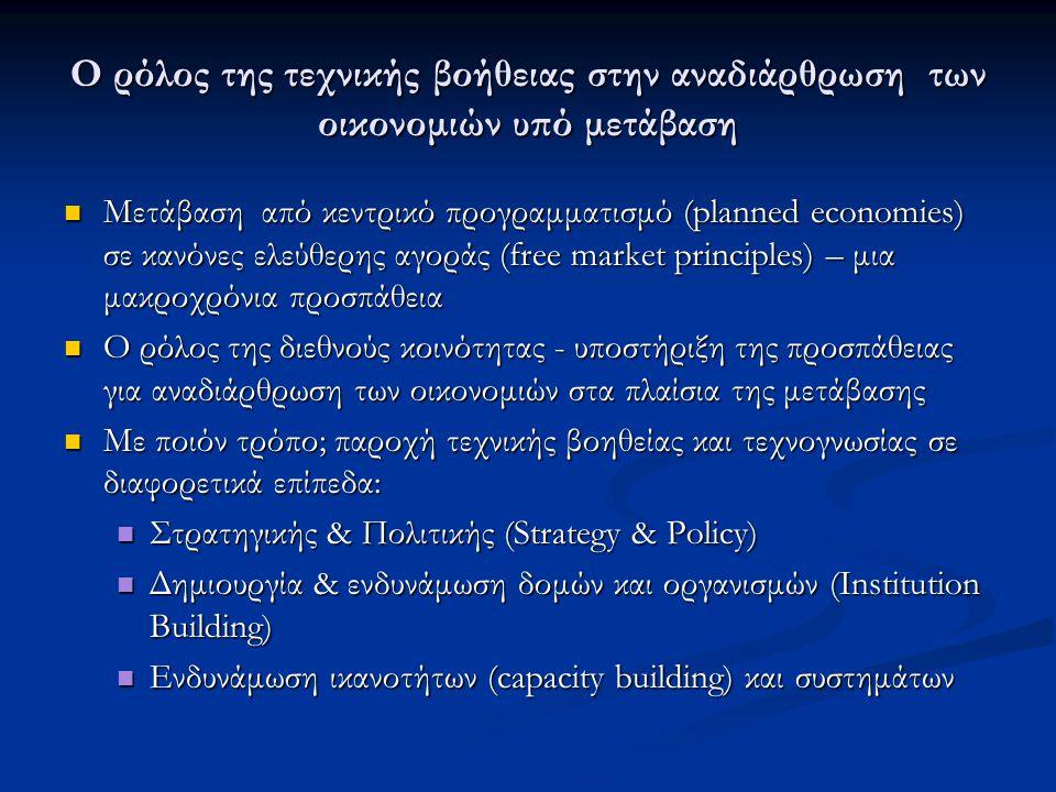 Ο ρόλος της τεχνικής βοήθειας στην αναδιάρθρωση των οικονομιών υπό μετάβαση Μετάβαση από κεντρικό προγραμματισμό (planned economies) σε κανόνες ελεύθερης αγοράς (free market principles) – μια μακροχρόνια προσπάθεια Μετάβαση από κεντρικό προγραμματισμό (planned economies) σε κανόνες ελεύθερης αγοράς (free market principles) – μια μακροχρόνια προσπάθεια Ο ρόλος της διεθνούς κοινότητας - υποστήριξη της προσπάθειας για αναδιάρθρωση των οικονομιών στα πλαίσια της μετάβασης Ο ρόλος της διεθνούς κοινότητας - υποστήριξη της προσπάθειας για αναδιάρθρωση των οικονομιών στα πλαίσια της μετάβασης Με ποιόν τρόπο; παροχή τεχνικής βοηθείας και τεχνογνωσίας σε διαφορετικά επίπεδα: Με ποιόν τρόπο; παροχή τεχνικής βοηθείας και τεχνογνωσίας σε διαφορετικά επίπεδα: Στρατηγικής & Πολιτικής (Strategy & Policy) Στρατηγικής & Πολιτικής (Strategy & Policy) Δημιουργία & ενδυνάμωση δομών και οργανισμών (Institution Building) Δημιουργία & ενδυνάμωση δομών και οργανισμών (Institution Building) Ενδυνάμωση ικανοτήτων (capacity building) και συστημάτων Ενδυνάμωση ικανοτήτων (capacity building) και συστημάτων