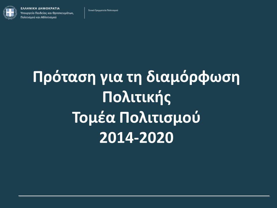 Κεντρικοί Στόχοι Πολιτικής Τομέα Πολιτισμού 2014-2020  Εμπλουτισμός και Διαφοροποίηση του τουριστικού προϊόντος: ανάδειξη και αξιοποίηση Πολιτιστικής Κληρονομιάς, Σύγχρονου Πολιτισμού και Σύγχρονων Πολιτιστικών Θεσμών  Μετάβαση στην ποιοτική επιχειρηματικότητα: στήριξη των ΠΔΒ και Σύγχρονου Πολιτισμού εν γένει  Προώθηση της απασχόλησης, εκπαίδευση και ανάπτυξη της διοικητικής ικανότητας των φορέων 12