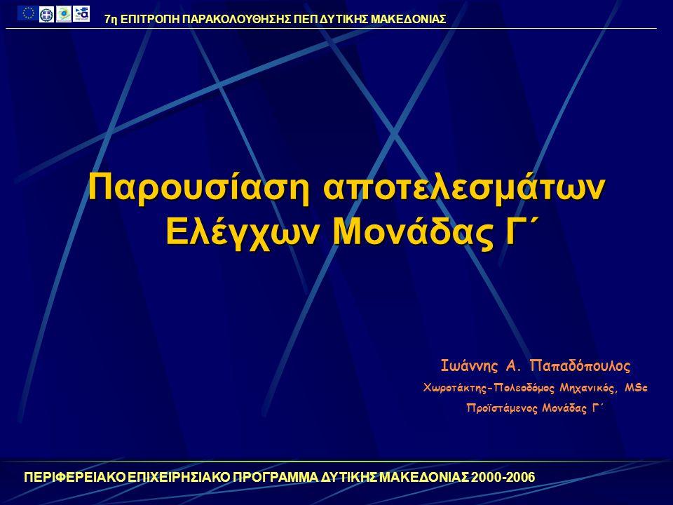 ΠΕΡΙΦΕΡΕΙΑΚΟ ΕΠΙΧΕΙΡΗΣΙΑΚΟ ΠΡΟΓΡΑΜΜΑ ΔΥΤΙΚΗΣ ΜΑΚΕΔΟΝΙΑΣ 2000-2006 Παρουσίαση αποτελεσμάτων Ελέγχων Μονάδας Γ΄ Ιωάννης Α. Παπαδόπουλος Χωροτάκτης-Πολεο