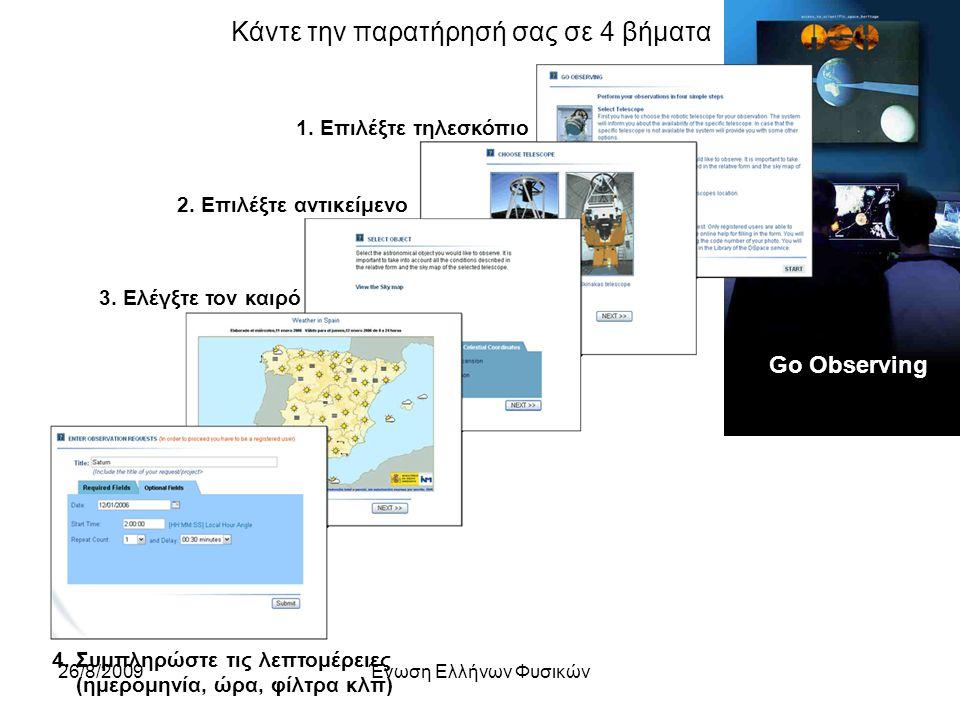 26/8/2009Ένωση Ελλήνων Φυσικών Go Observing Κάντε την παρατήρησή σας σε 4 βήματα 1.