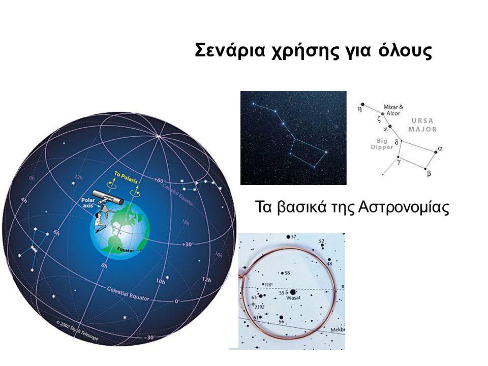 26/8/2009Ένωση Ελλήνων Φυσικών Σενάρια χρήσης για όλους Τα βασικά της Αστρονομίας