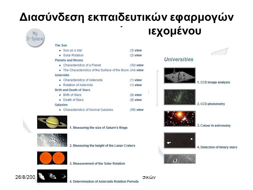 26/8/2009Ένωση Ελλήνων Φυσικών Διασύνδεση εκπαιδευτικών εφαρμογών και ψηφιακού περιεχομένου