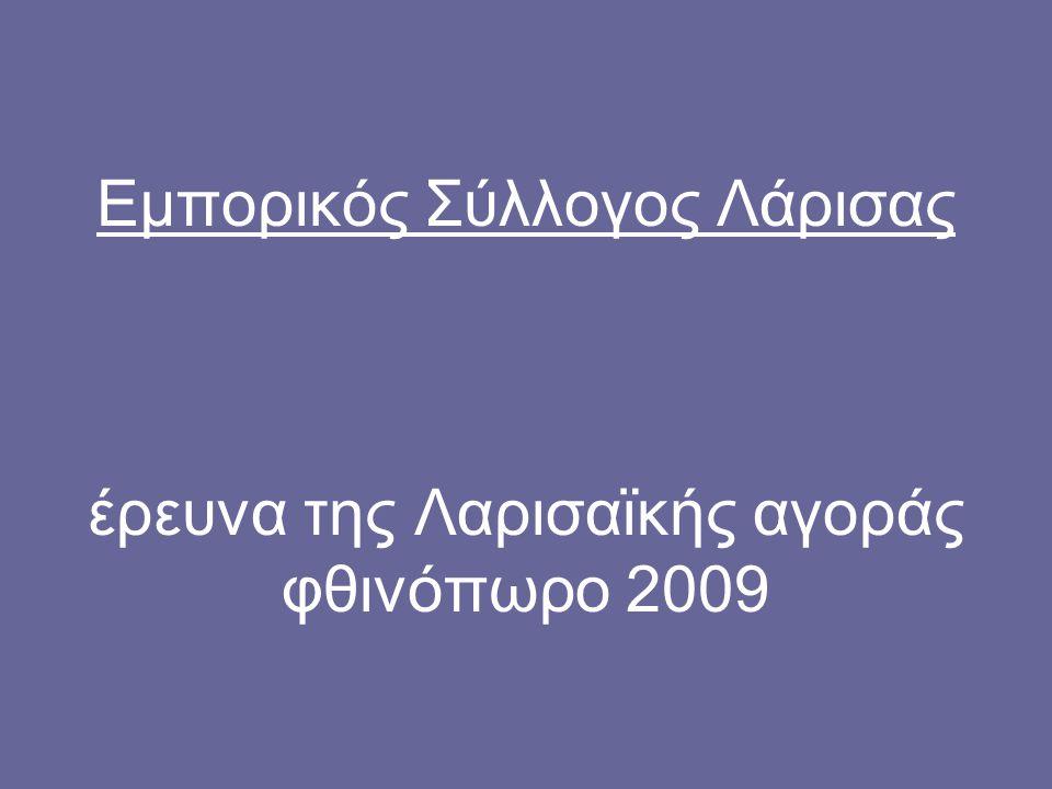 ΤΑΥΤΟΤΗΤΑ ΕΡΕΥΝΑΣ δείγμα: 100 εμπορικές επιχειρήσεις του κέντρου της Λάρισας χρόνος διεξαγωγής: 7-18 Σεπτεμβρίου 2009