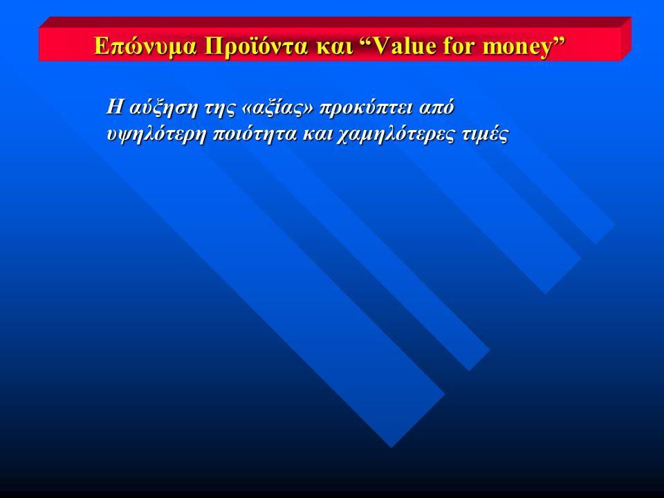 Η αύξηση της «αξίας» προκύπτει από υψηλότερη ποιότητα και χαμηλότερες τιμές Επώνυμα Προϊόντα και Value for money