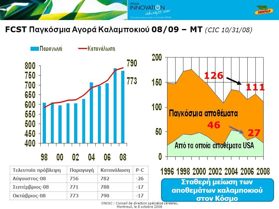 FCST Παγκόσμια Αγορά Καλαμποκιού 08/09 – MT (CIC 10/31/08) 111 27 46 126 Σταθερή μείωση των αποθεμάτων καλαμποκιού στον Κόσμο ONIGC : Conseil de direc