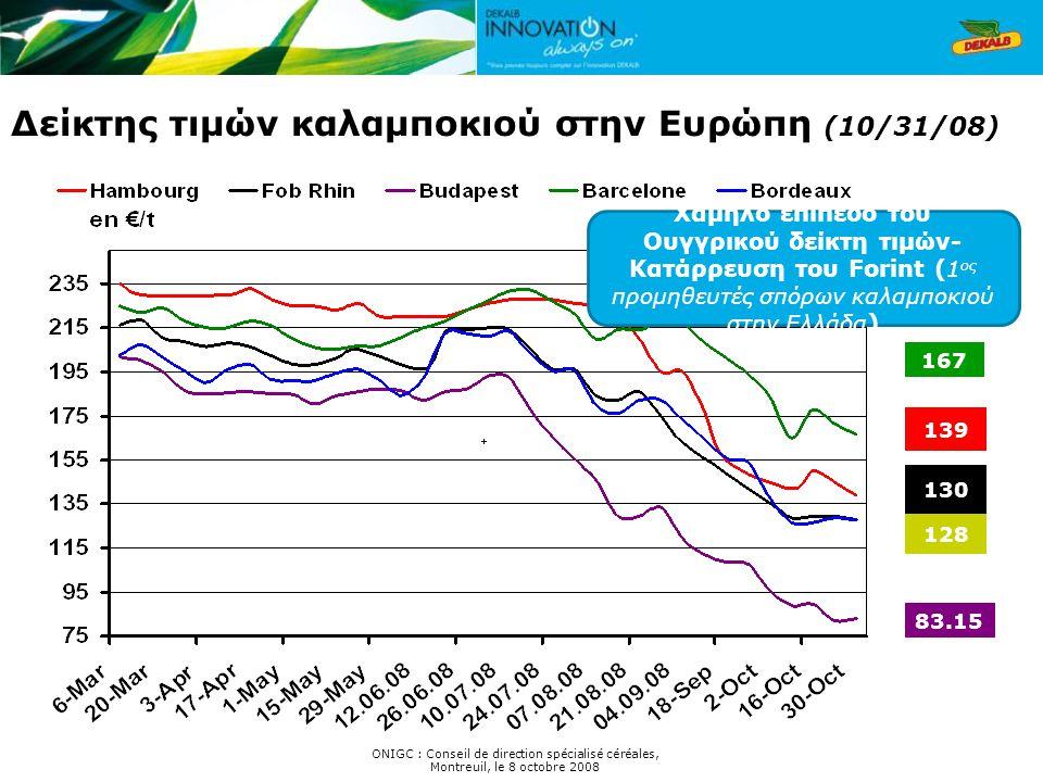 Δείκτης τιμών καλαμποκιού στην Ευρώπη (10/31/08) ONIGC : Conseil de direction spécialisé céréales, Montreuil, le 8 octobre 2008 130 167 128 139 83.15 Χαμηλό επίπεδο του Ουγγρικού δείκτη τιμών- Κατάρρευση του Forint ( 1 ος προμηθευτές σπόρων καλαμποκιού στην Ελλάδα )