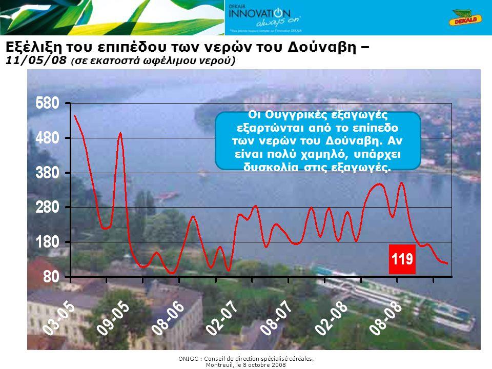 ONIGC : Conseil de direction spécialisé céréales, Montreuil, le 8 octobre 2008 Εξέλιξη του επιπέδου των νερών του Δούναβη – 11/05/08 ( σε εκατοστά ωφέ