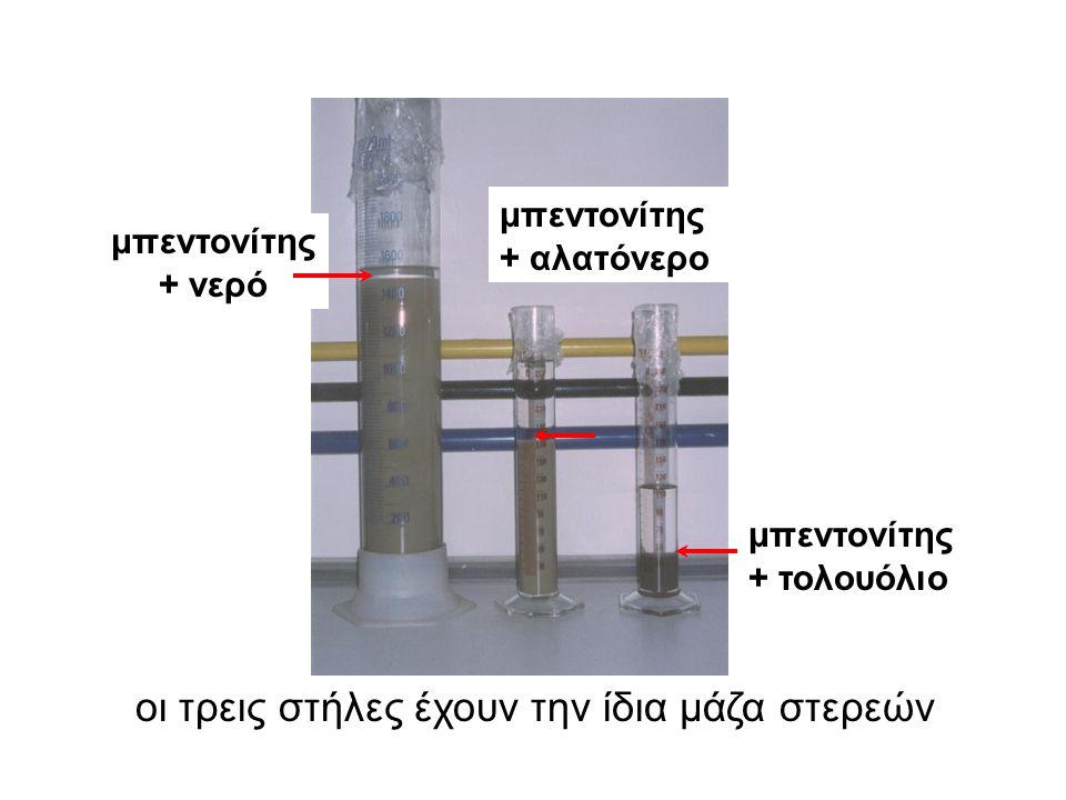 μπεντονίτης + νερό μπεντονίτης + αλατόνερο μπεντονίτης + τολουόλιο οι τρεις στήλες έχουν την ίδια μάζα στερεών