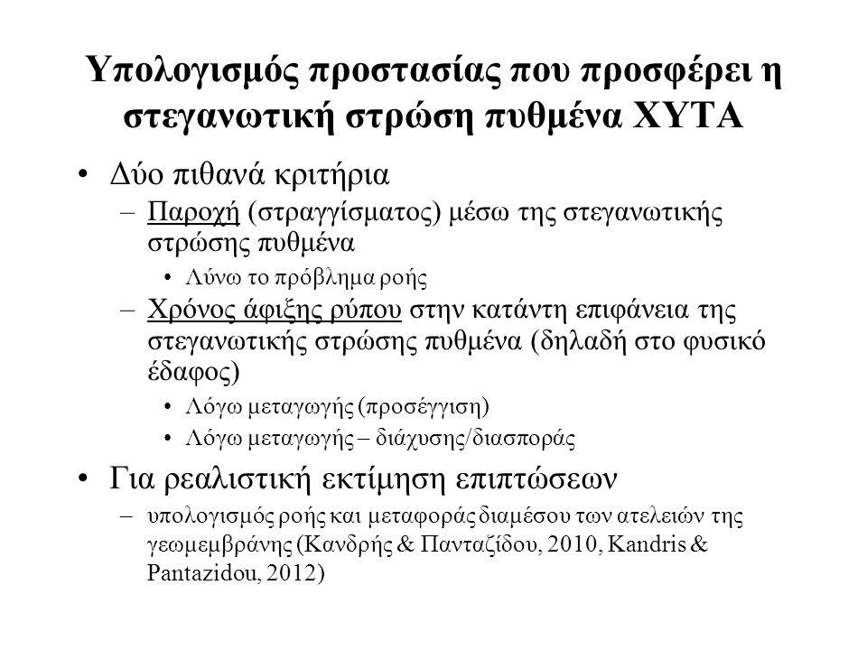 Υπολογισμός προστασίας που προσφέρει η στεγανωτική στρώση πυθμένα XYTA Δύο πιθανά κριτήρια –Παροχή (στραγγίσματος) μέσω της στεγανωτικής στρώσης πυθμένα Λύνω το πρόβλημα ροής –Χρόνος άφιξης ρύπου στην κατάντη επιφάνεια της στεγανωτικής στρώσης πυθμένα (δηλαδή στο φυσικό έδαφος) Λόγω μεταγωγής (προσέγγιση) Λόγω μεταγωγής – διάχυσης/διασποράς Για ρεαλιστική εκτίμηση επιπτώσεων –υπολογισμός ροής και μεταφοράς διαμέσου των ατελειών της γεωμεμβράνης (Κανδρής & Πανταζίδου, 2010, Kandris & Pantazidou, 2012)