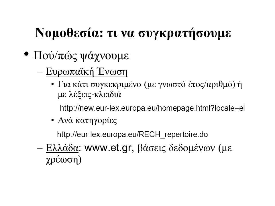 Νομοθεσία: τι να συγκρατήσουμε Πού/πώς ψάχνουμε –Ευρωπαϊκή Ένωση Για κάτι συγκεκριμένο (με γνωστό έτος/αριθμό) ή με λέξεις-κλειδιά http://new.eur-lex.europa.eu/homepage.html?locale=el Ανά κατηγορίες http://eur-lex.europa.eu/RECH_repertoire.do –Ελλάδα: www.et.gr, βάσεις δεδομένων (με χρέωση)