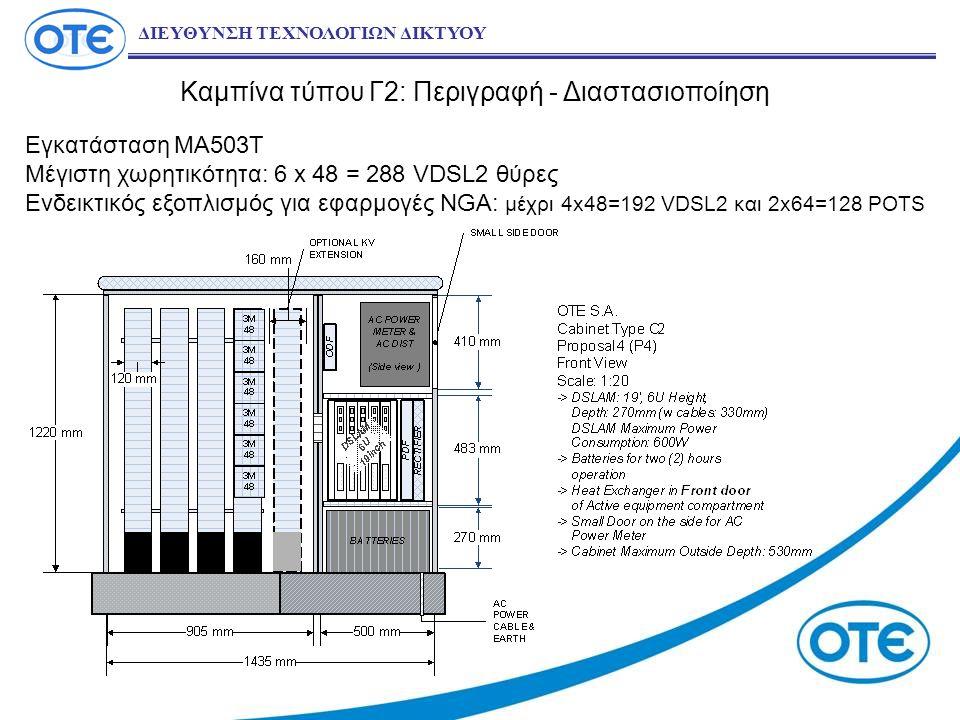 Καμπίνα τύπου Γ2: Περιγραφή - Διαστασιοποίηση ΔΙΕΥΘΥΝΣΗ ΤΕΧΝΟΛΟΓΙΩΝ ΔΙΚΤΥΟΥ Εγκατάσταση ΜΑ503Τ Μέγιστη χωρητικότητα: 6 x 48 = 288 VDSL2 θύρες Ενδεικτικός εξοπλισμός για εφαρμογές NGA: μέχρι 4x48=192 VDSL2 και 2x64=128 POTS